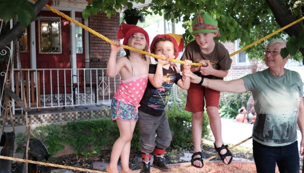 Grandkids_Lanye, Aliya, Dante on ropes