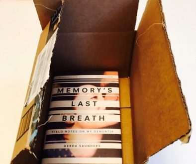 Publication Day: Marissa shows off her copy of MEMORY'S LAST BREATH: FIELD NOTES ON MY DEMENTIA