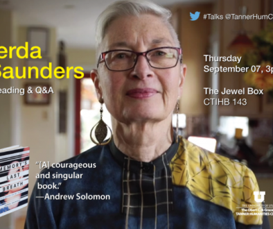 You are invited to Gerda's Talk at the Tanner on Thu Sept 7 at 3 pm